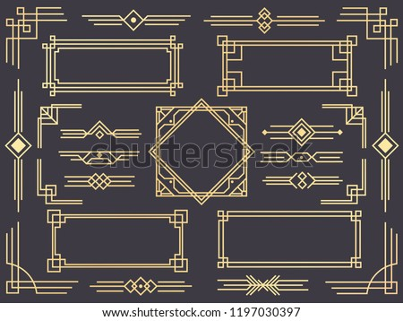 Art deco line border. Modern arabic gold frames, decorative lines borders and geometric golden label frame. Victorian vintage old antique elegant vector design isolated icons elements set Royalty-Free Stock Photo #1197030397