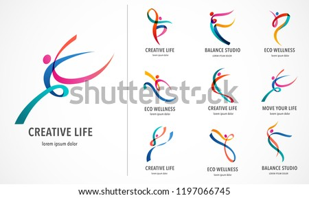 Abstract people logo design. Gym, fitness, running trainer vector colorful logo. Active Fitness, sport, dance web icon and symbol Royalty-Free Stock Photo #1197066745