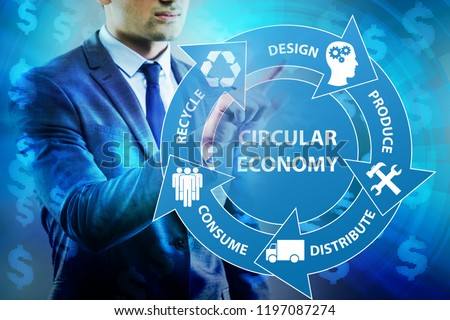Concept of circular economy with businessman #1197087274