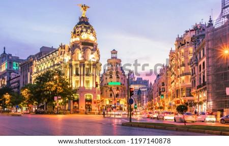 Madrid city skyline gran via street twilight , Spain #1197140878