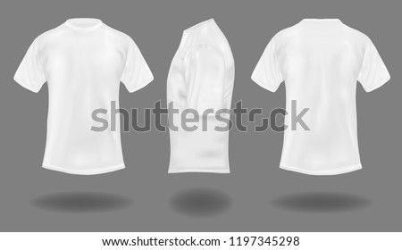 Set of white t-shirts on gray background.  Front, back and side views. Vector illustration. #1197345298