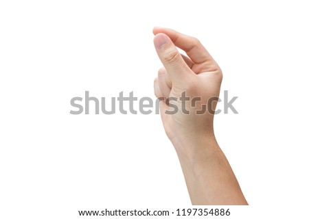 Man hand holding, isolated on white background with clipping path. #1197354886