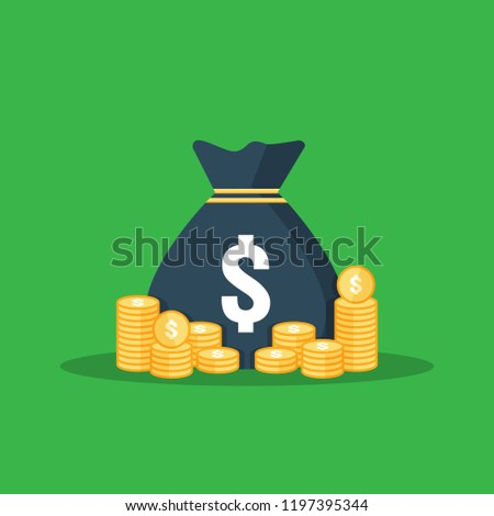 dollar pile coins icon. gold golden stack and money bag for profit saving. calculations counting, data analytic, planning, report. business investment growth concept. flat style vector illustration. #1197395344