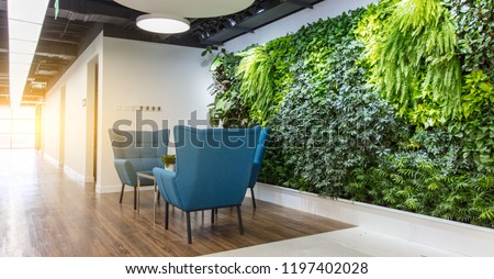Rest area at the front desk of the modern office, comfortable sofas and green plants #1197402028