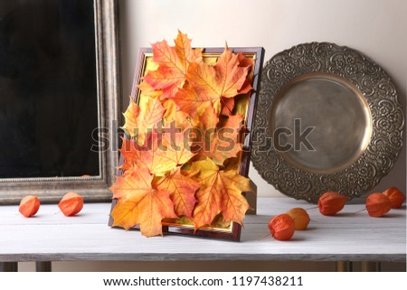 Picture frame  with maple leaves composition as autumn decoration in interior. Handmade colorful natural autumn fall composition in frame and dried plants chinese lantern on wooden shelf.