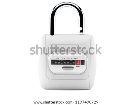 Electricity measure with padlock isolated on white background. 3d illustration #1197490729