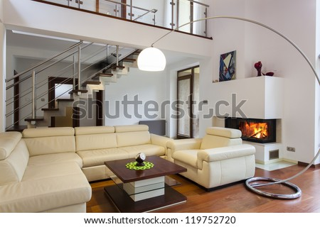 Big and comfortable living room with bright sofa #119752720