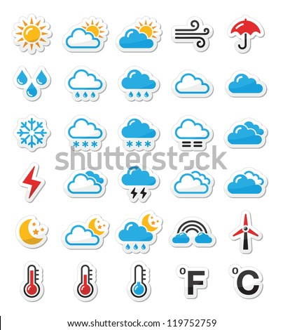 Weather icons set as labels - vector #119752759