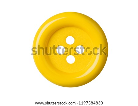 Yellow button isolated on white background Royalty-Free Stock Photo #1197584830