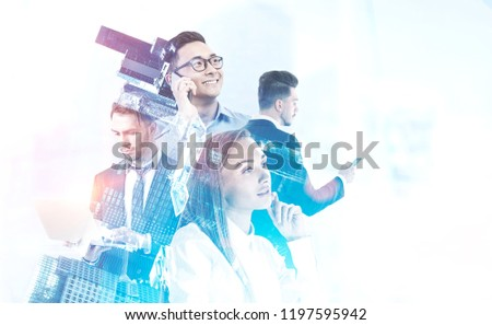 Diverse business team managers with gadgets over white background. Cityscape foreground. Team building concept. Toned image double exposure mock up #1197595942