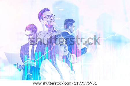 Diverse business team managers with gadgets over blurred cityscape. Graphs and immersive interface foreground. Hi tech and fintech concept. Toned image double exposure mock up #1197595951