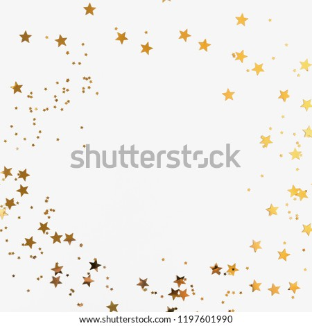 Festive  background. Shining stars on white background. Christmas. Wedding. Birthday. Happy woman's day. Mothers Day. Valentine's Day. Flat lay, top view, copy space. #1197601990