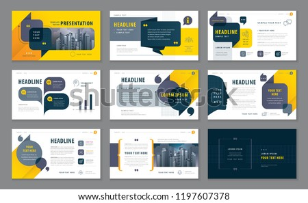 Abstract Presentation Templates, Infographic Black and Yellow elements Template design set for Brochures, flyer, Messages ,Questions and Answers, social networks, talk bubbles vector, company Profile #1197607378