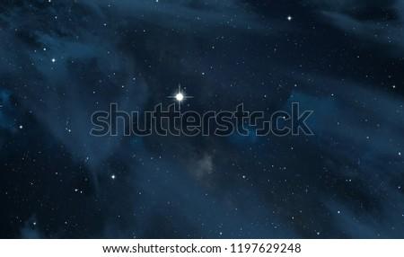 Dark interstellar space. 2d illustration. Stars in a deep space. Blue cold nebula. Dark night sky. #1197629248