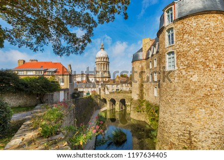 Fortified city of Boulogne-sur-Mer, castle in foreground, Basilica of Our Lady of the Immaculate Conception in background Royalty-Free Stock Photo #1197634405