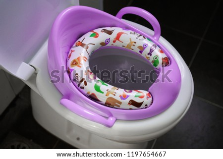 Pink Baby seat toilet Cover Seat Bathroom Closes tool Soft Warmer two hands cartoon #1197654667
