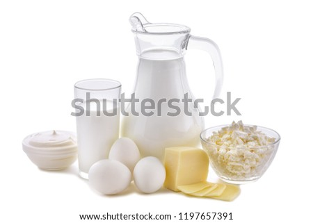 Dairy products on white background. Milk, cottage cheese, sour cream, cheese, butter, eggs, still life from healthy dairy products. Dairy nutrition is good for children's health. #1197657391