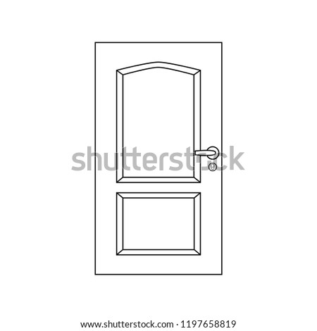 Door icon. Black and white icon. Enter or exit symbol. #1197658819