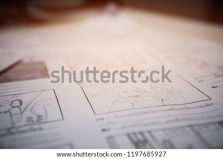 Storyboard drawing creative for film process pre-production media films story script for video editors
