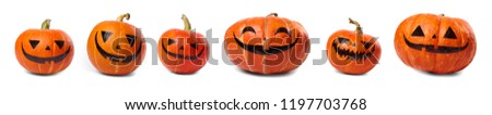 Halloween pumpkins with painted faces isolated on white background. #1197703768