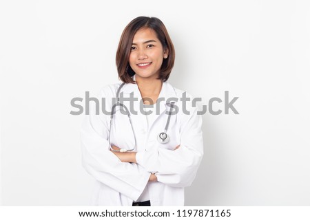 portrait happy asian woman doctor on white background #1197871165