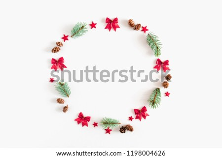 Christmas composition. Xmas wreath on white background. Flat lay, top view, copy space #1198004626