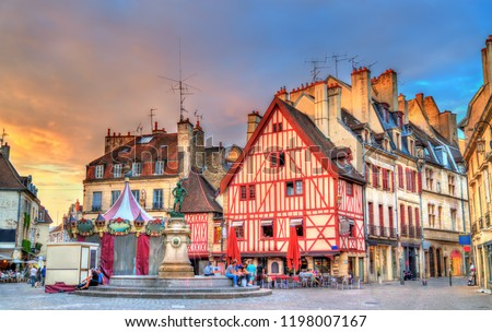 Traditional buildings in the Old Town of Dijon - Burgundy, France #1198007167