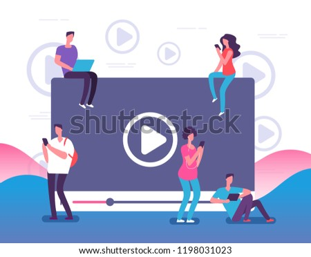 People watching online video. Digital internet television, web videos player or social media live stream vector concept illustration. Online video stream, play and watching movie Royalty-Free Stock Photo #1198031023