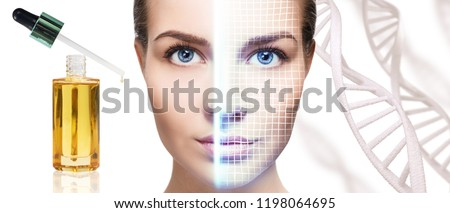 Portrait of sensual woman with lifting lines on face among DNA stems. #1198064695