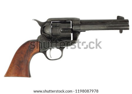 wild west revolver - colt single action army isolated on white background #1198087978