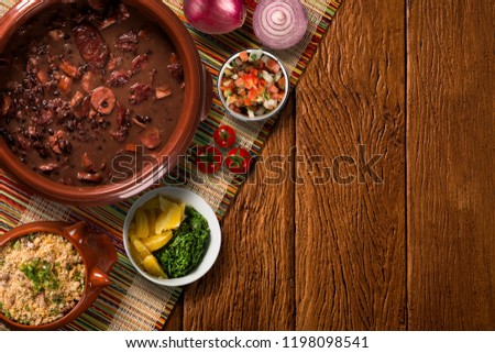 Brazilian Feijoada Food. Top view #1198098541