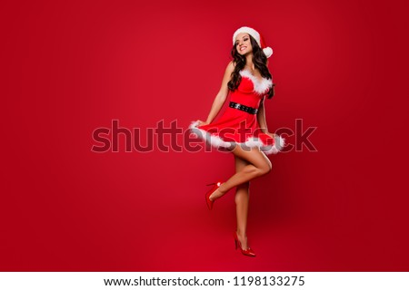 Costume party concept. Full legs body size glad attractive good-looking brunette lady sharp, pumps, stilettos in headwear with curly wave modern hairdo jump or dance isolated on vivid red background #1198133275