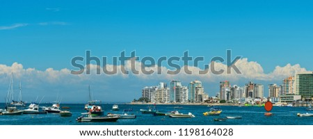 Seascape with yachts on the background of the beach. Salinas. Ecuador. #1198164028