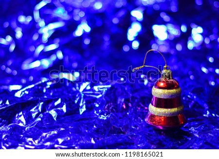 Decorated Christmas tree on blurred, sparkling and fairy elegant abstract background with bokeh lights and stars. Glowing abstract black and purple abstract texture. Circular points. Raster image.  #1198165021