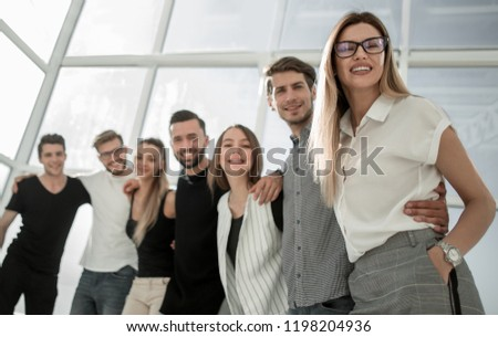 group of business people standing in a new office. #1198204936