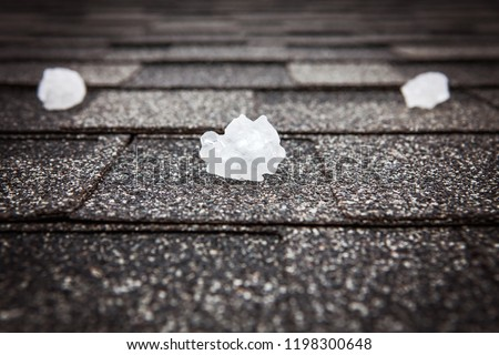 Hail on roof after hailstorm