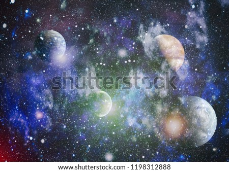planets, stars and galaxies in outer space showing the beauty of space exploration. Elements furnished by NASA #1198312888