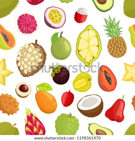 Avocado and cupuacu, salak and kumquat, lychee and bael, papaya and mango, carambola and pineapple, guava vector seamless pattern of tropical fruits #1198361470