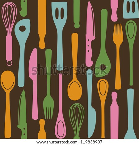 Kitchen and cooking utensils and cutlery - seamless pattern #119838907