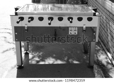pinball game in black and white Royalty-Free Stock Photo #1198472359