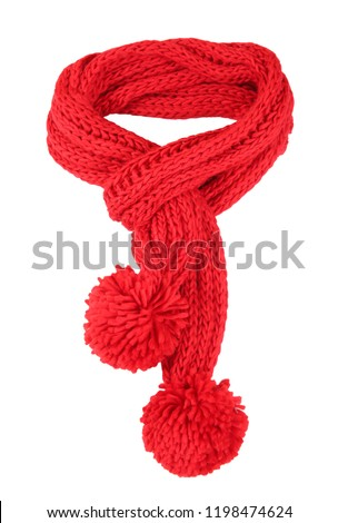 Red knitted scarf isolated on white. #1198474624