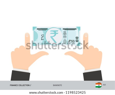 50 Indian Rupee Banknote. Business hands measuring banknote. Flat style vector illustration. Business finance concept. #1198523425
