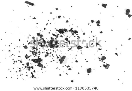 Black coal dust with fragments isolated on white background and texture, top view #1198535740
