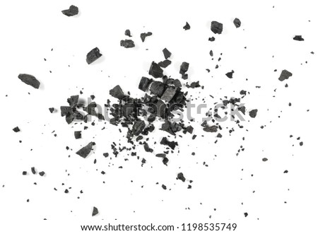 Black coal dust with fragments isolated on white background and texture, top view #1198535749