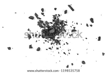 Black coal dust with fragments isolated on white background and texture, top view #1198535758