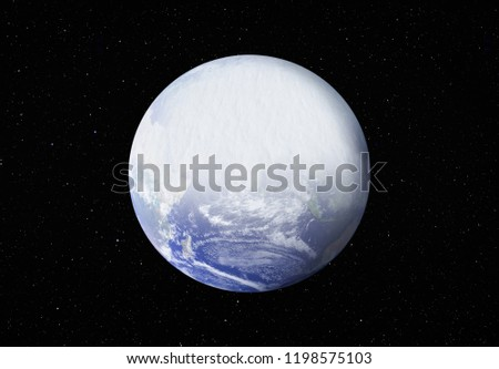 """New ice age and Earth covered with snow """"Elements of this image furnished by NASA"""""""