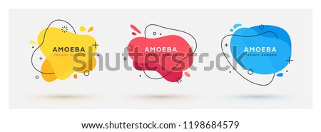 Set of modern abstract vector banners. Flat geometric shapes of different colors with black outline in memphis design style. Template ready for use in web or print design. Royalty-Free Stock Photo #1198684579