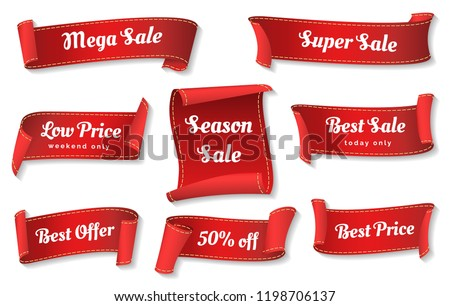 Sale ribbons. Red ribbons price badges isolated on white background, glossy cheap sales tags collection or promotion vector labels #1198706137