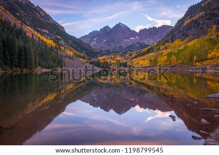 Maroon bells reflection at sunset in autumn #1198799545