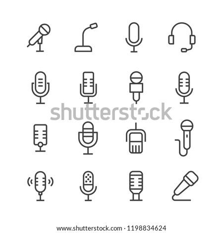Microphone vector icon set